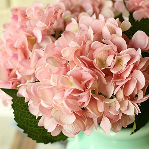 YSBER 3 Big Heads Artificial Hydrangea Silk Fake Flowers Bunch Bouquet Home Hotel Wedding Party Centerpieces Garden Floral Decor(Pink)