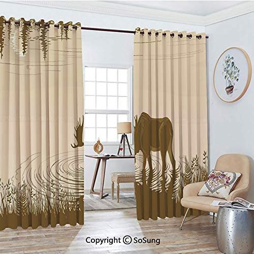 Blackout Window Curtains,Silhouette of Elk Drinking Water in Lake River Forest Wildlife Scenery Illustration Living Room Bedroom Thermal Insulated Window Drapes 2 Panel Set, 54