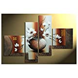 Wieco Art 4-Piece Elegant Flowers Stretched and