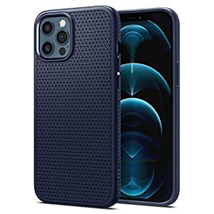 Spigen Thermoplastic Polyurethane Liquid Air Back Cover Case Compatible with iPhone 12 Pro and iPhone 12 – Navy Blue