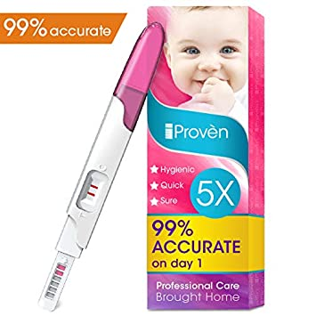Pregnancy Test FMH-139 of iProven - Pregnant Test HCG Midstream 5 Test Strips - Test Pregnancy with Early Detection Test on Cycle Day One (Non Digital) iProvèn