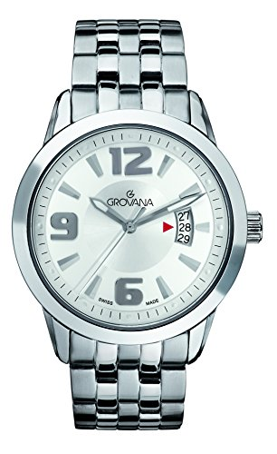 Grovana Men's 'Traditional' Swiss Quartz Stainless Steel Casual Watch, Color:Silver-Toned (Model: 1567-1233)