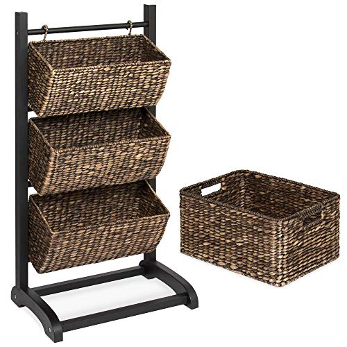 Best Choice Products 3-Tier Water Hyacinth Floor Rack Stand Organizer, Tower Cubby Display w/Hanging Storage Baskets, Metal Frame - Brown