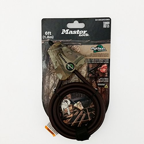 Master-Lock-8418KADCAM-TMB-Python-Adjustable-Locking-Cable-Braided-Steel-Camo-Colored-6-Feet-x-516-inch