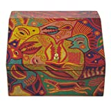 NOVICA Animal Themed Paper Wood Decoupage Jewelry Box, Multicolor, Huichol Essence'