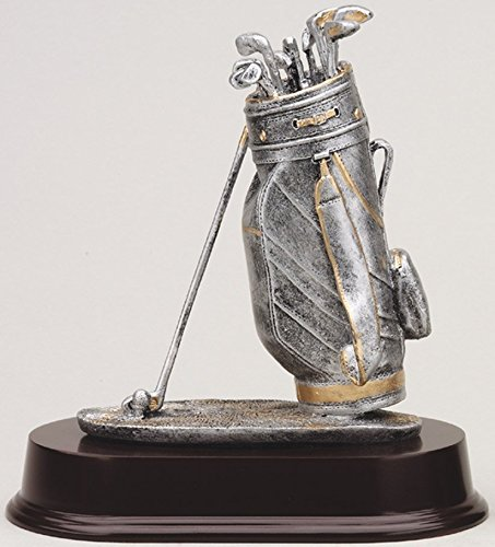 Etch Workz Customize Male Golf Bag Trophy - Pewter Finish RF550SG Series Resin Golf Award - Includes 3 Lines of Engraving - Gold Plated & Personalized Free