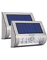Albrillo LED Luci solari - Lampade da esterno a energia, Realizzato in metallo e ABS con Sensore di movimento 18 LED, Bianco freddo, IP65 impermeabili, Adatta per giardino, corridoio, 2 pezzi