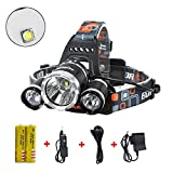 Best Sellers in Headlamps Super Bright 10000 Lumens Led Headlamp Flashlight,Super Bright Headlight ,Waterproof Hard Hat Light, 3 Light 4 Modes, IMPROVED LED with Rechargeable Batteries for Camping Biking Hunting Fishing Outdoor Sports