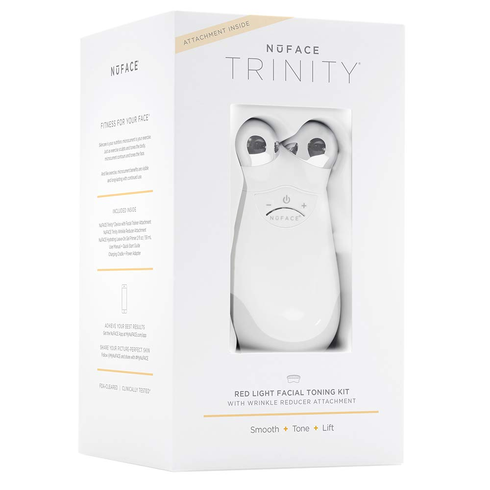NuFACE Red Light Facial Toning Kit | Trinity Facial Toning Device + Red Light Wrinkle Reducer Attachment, Skin Care Device to Tone and Smooth Skin + Reduce Look of Wrinkles, FDA-Cleared At-Home System