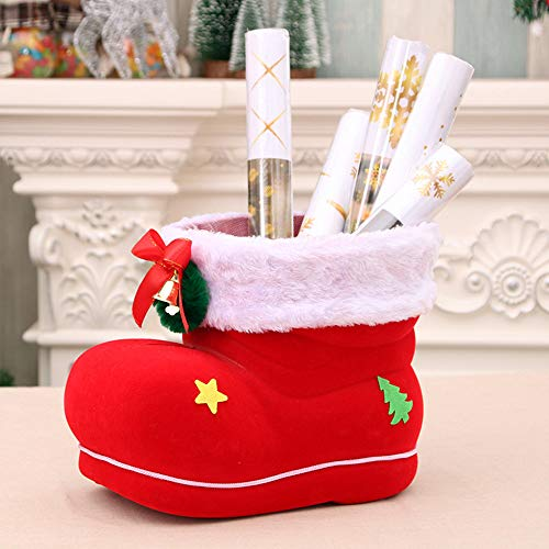 (Christmas Stockings Plush Santa Boot Shoes Classic Design Candy Bag Durable Novelty Christmas Ornament for Xmas Tree Family Holiday Decor (Red))