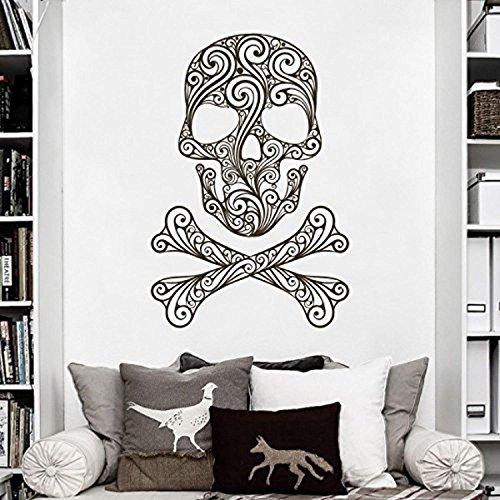 AmericanVinylDecor Halloween Spooky Decor Room Decoration Skull and Crossbones of Swirls Art Sticker,)