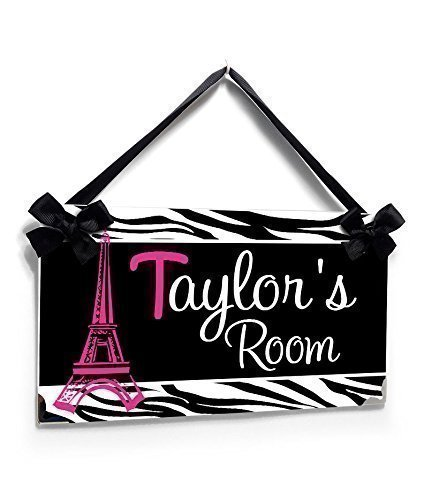 Black White Zebra Print with Hot Pink Eiffel Tower Teens Room Door - Pink Hot Metal Name