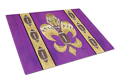 - Caroline's Treasures Tiger Football Fleur De Lis Glass Cutting Board, Large, Multicolor