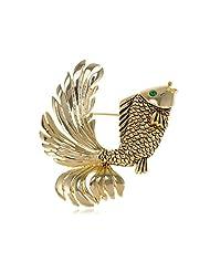 Alilang Womens Gold Tone Nautical Green Eyed Goldfish Fish Brooch Pin