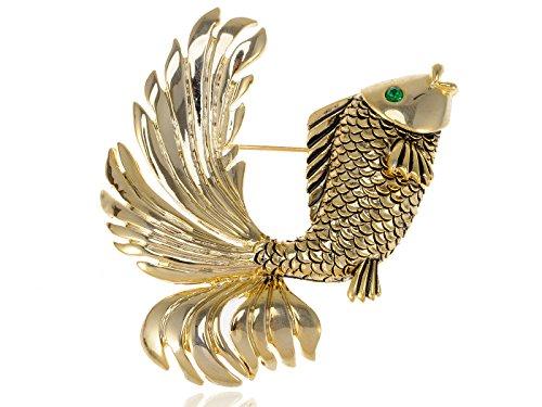 - Alilang Womens Golden Tone Nautical Green Eyed Goldenfish Fish Brooch Pin