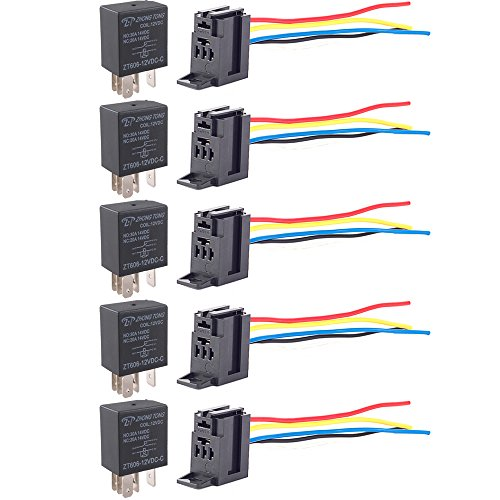 30a Electric Relay (E Support Car Relay 12v 30a Spdt 5pin Socket Pack of 5)