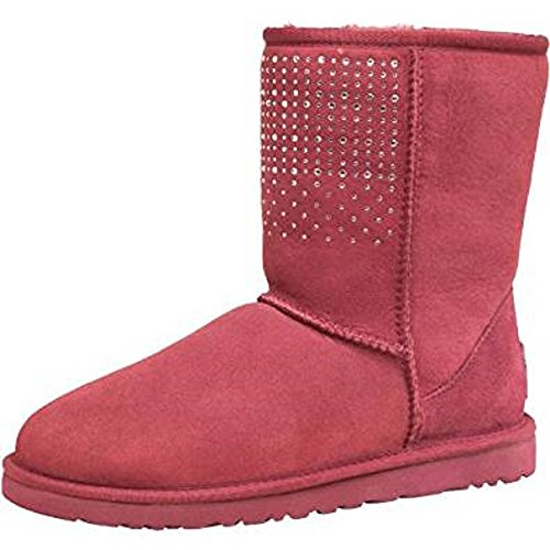 Silver Classic Womens Red Ugg Bling Boots Dark Short Sangria 8gxBadqw5