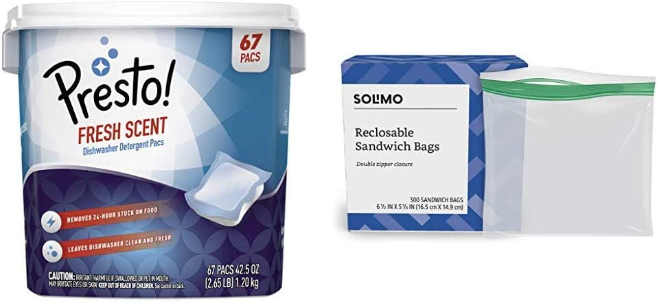 Amazon Brand - Presto! Premium Dishwasher Detergent Pacs, Fresh Scent, 67 Count & Solimo Sandwich Storage Bags, 300 Count