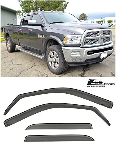 for 2009-2018 Ram 1500 2500 3500 Crew Cab | EOS Visors in-Channel Style Smoke Tinted Side Window Vents Rain Guard Deflectors