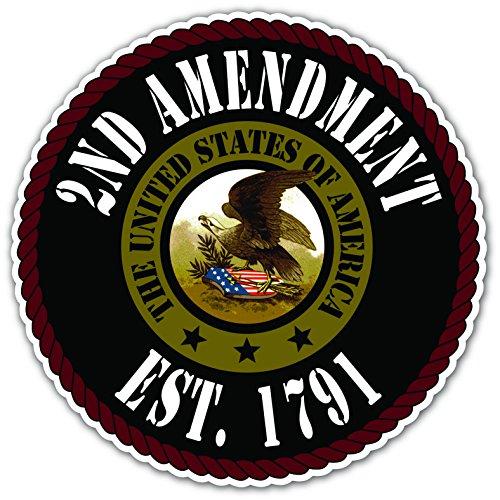 Second 2nd Amendment Established 1791 Pro-Gun Bald Eagle Seal Vinyl Decal Bumper Sticker 5 Inches X 5 Inches ()