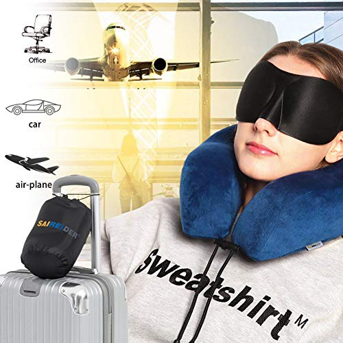 SAIREIDER Travel Pillow 100 Memory Foam Airplanes Neck Pillows Prevent The Heads from Falling