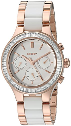 DKNY Women's 'Chambers' Quartz Stainless Steel and Ceramic Casual Watch, Color:Rose Gold-Toned (Dkny Ladies White Ceramic)