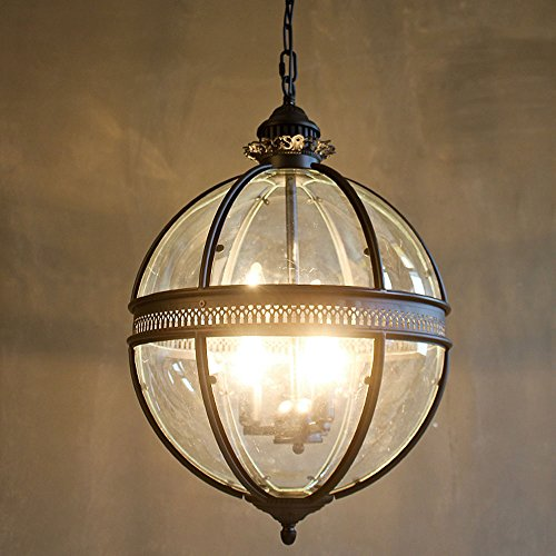 LightInTheBox Vintage Pendent Light Living Room Dinning Room Lighting Fixture Rustic/Lodge Lamp Glass Shade 40W (Antique Brass) ()