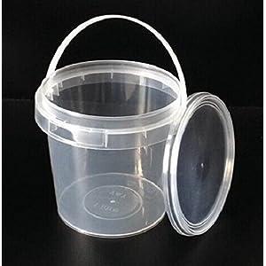 Secchielli di plastica trasparente di grado alimentare dotati di coperchi a prova di manomissione, capacità: 1 litro… 51zdGwksCzL. SS300