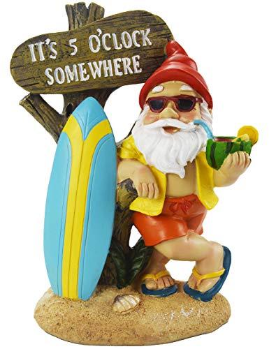 Gnome Statue Figurine - Muse Design Surfing Garden Gnome Figurine Garden Statues Yard Art Resin Decorations Outdoor Garden Décor