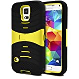 Galaxy S5 Case, MagicMobile Hybrid Impact Rugged Shockproof Case for Galaxy S5 Hard Armor Shell and Soft Silicone Skin Layer Kickstand Case Galaxy S5 Cover [ Black - Yellow ] with Free Screen Protector and Stylus