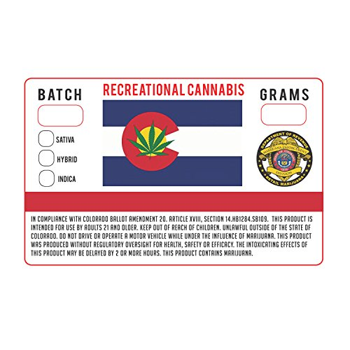 "Colorado CO Amd 20 Medical Marijuana Cannabis State Compliance Weed Strain Stickers 1.25 x 2"" (250)"