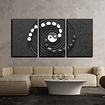 Elegant Composition, Made to Last, Zen Stones with Yin and Yang x3 Panels