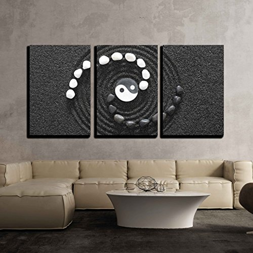 Zen Stones with Yin and Yang x3 Panels