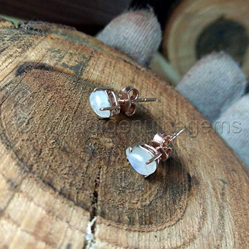 - teardrop rainbow moonstone earring, rose gold moonstone stud earring, vermeil 925 sterling silver earring, four prong setting post gemstone stud, women's gold earring