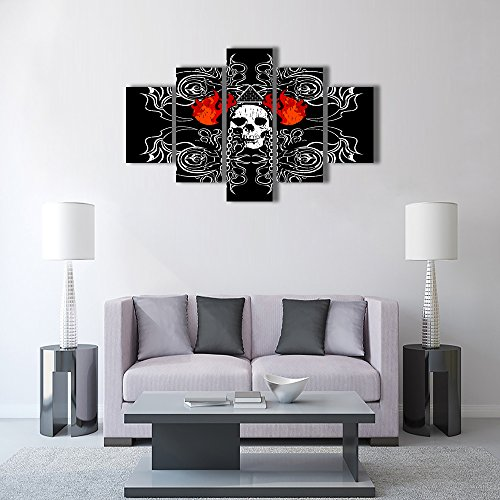 Large Rustic Skeletons Design Painting on Canvas Red Flames Black Wall Art Evil Scary Home Decor Day of The Dead Picture,Framed Artwork for Living Room 5 Panel Stretched Ready to Hang(60''Wx32''H) (Gore Panel)