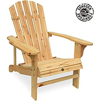 Songsen Outdoor Log Wood Adirondack Lounge Chair Patio Deck Garden Furniture    Natural