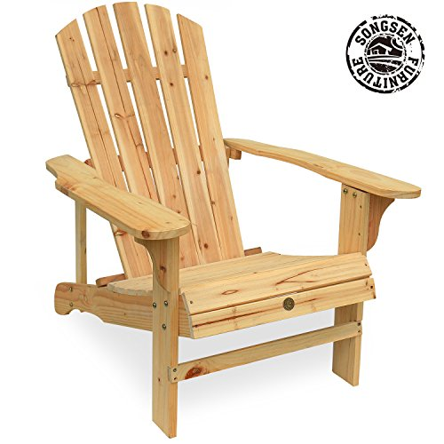 (Songsen Outdoor Log Wood Adirondack Lounge Chair Patio Deck Garden Furniture - Natural)