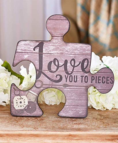 MattsGlobal Shop Sweet Puzzle Piece Angels or Signs - MDF Cold Cast Ceramic - Let Them Know How Much You Care (Love You Plaque) -