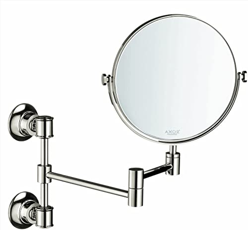 AXOR Shaving Mirror Easy Install 12-inch Classic Accessories in Polished Nickel, 42090830