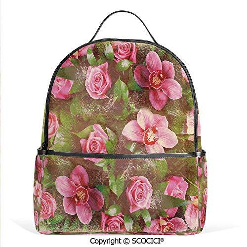 Lightweight Chic Bookbag Romantic Retro Floral Composition Grunge Wedding Corsage Art,Green Pink Light Pink,Satchel Travel Bag Daypack ()
