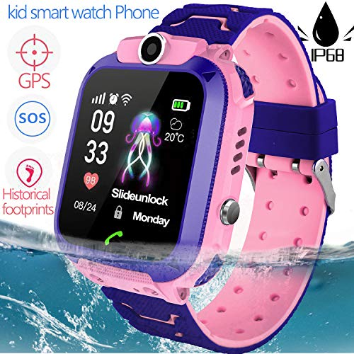 Waterproof IP68 Kid Smartwatch Phone GPS Tracker for 3-12 Years Old Boys Girls with Two-Way Call SOS Anti-Lost SIM Card Slot Touch Screen Game Camera Kid Wrist Watch Outdoor Sport School Birthday Gift (Best Touch Screen Games)
