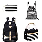 School Backpack Set for Girls Boys Canvas Backpacks Teen Girls
