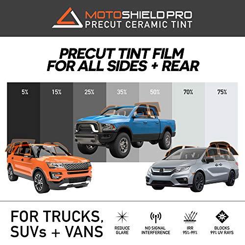 MotoShield Pro Precut Ceramic Tint Film [Blocks Up to 99% of UV/IRR Rays] Window Tint for Trucks, SUVs, Mini Van - All Side Windows + Rear Only, Any Tint ()
