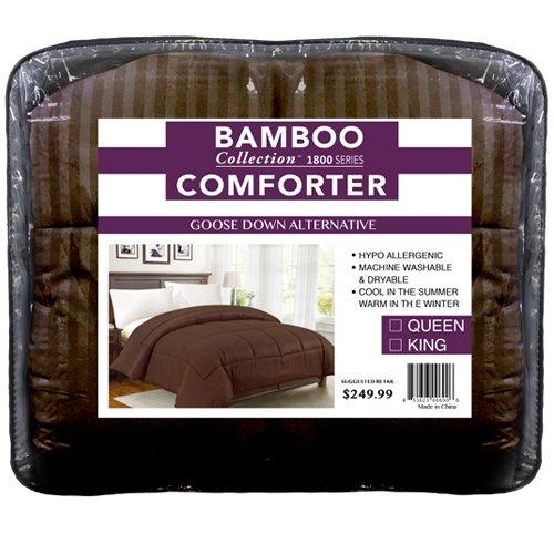 Damask STRIPED Hypoallergenic Microfiber Goose Down Alternative Comforter (BROWN, - Cool Tone Skin Warm Or