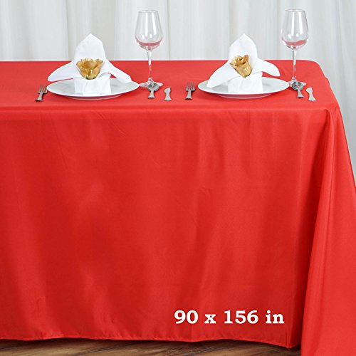 "Efavormart Red 90x156"" Polyester Rectangle Tablecloths"