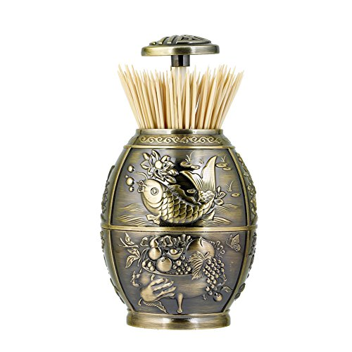 Antique Toothpick Holders - ANGROC Push Style Retro Metal Automatic Toothpick Holder Case Can Box Container for Home Restaurant Café Club Bar Hotel Usage (Bronze)