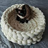 Chunky Crocheted Pet Bed Cozy Wool Pet Furniture Thick Knitted Pet Bed Dog Cat Cave Cat Nest Pet House 100% Handmade,Gift Idea (12 inch, White) Review
