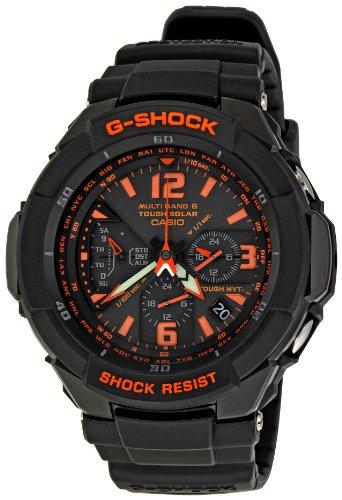 Casio Men's GW3000B-1ACR G-Shock Solar Power Black With Orange Dial Watch - Casio G Shock Aviator