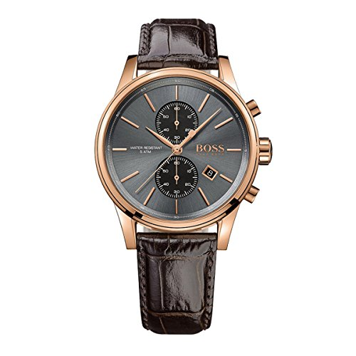 Hugo Boss Jet Black / Rose Gold / Brown Leather Analog Quartz Chronograph Men's Watch 1513281