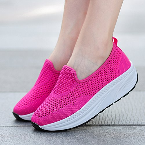 Damen Laufschuhe Sportschuhe up Atmungsaktiv Laufen Plateau Rot1 Fitness Keilabsatz Freizeitschuhe Hishoes Mesh Shape dIq4wxdP